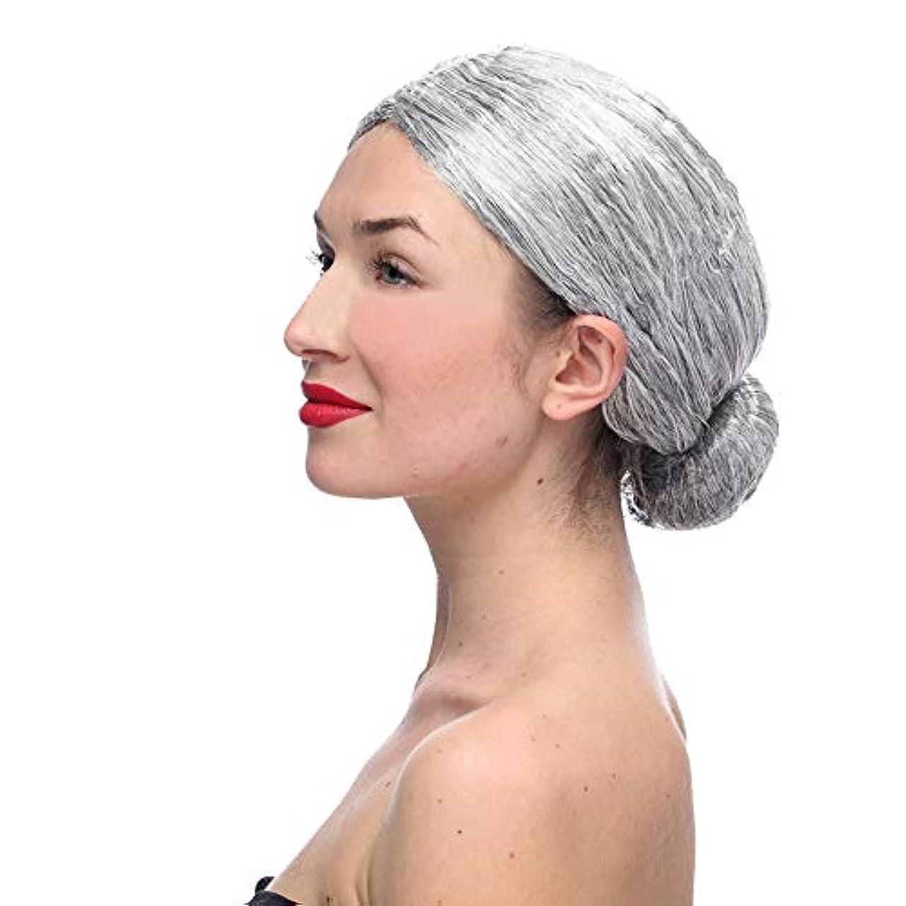 ジャニス承認強制かつらおばあちゃん灰色かつらCOS小道具かつら