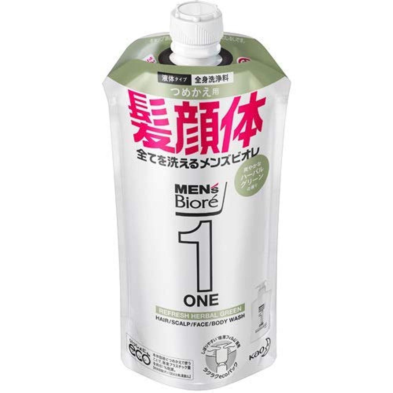 【10個セット】メンズビオレONE オールインワン全身洗浄料 爽やかなハーブルグリーンの香り つめかえ用 340mL