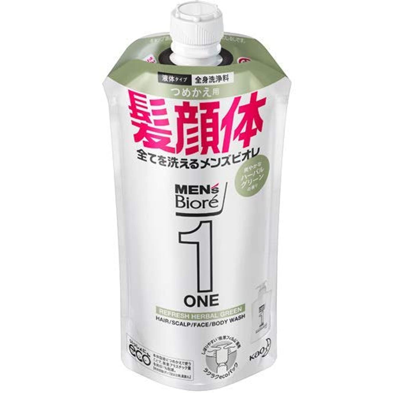 またはどちらか何十人もゆでる【10個セット】メンズビオレONE オールインワン全身洗浄料 爽やかなハーブルグリーンの香り つめかえ用 340mL