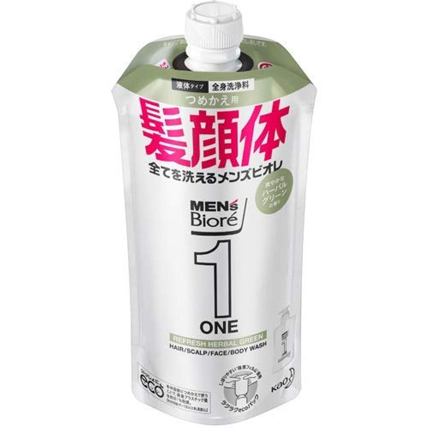 病気の過剰痛い【10個セット】メンズビオレONE オールインワン全身洗浄料 爽やかなハーブルグリーンの香り つめかえ用 340mL