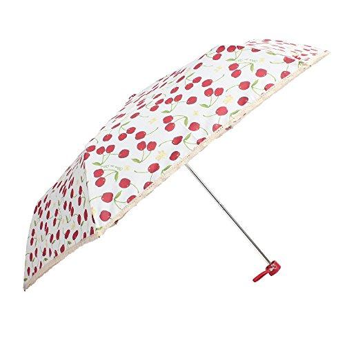 OLIVEdesOLIVE オリーブ デ オリーブ 55cm 折りたたみ雨傘「あふれるチェリーのアンブレラ」 (オフホワイト)