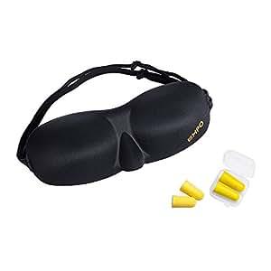 EMPO アイマスク 3D立体型 スリープマスク(メモリーフォーム形状)と無料付属品の耳栓 期限内保証付 SoftMAX©ストラップがどんなサイズの頭にもフィットします 低反発 超軽量 頭痛や不眠症に役立ち、瞑想、旅行やシフト作業の方にも最適です ギフトラッピングを利用できます