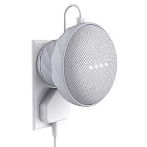 Google Home Mini 専用壁掛けホルダー カバー 設置簡単 ネジ止め不要 充電しながら使用可能 グーグルホームミニ 壁掛けマウント アクセサリー by KIWI design (ホワイト)