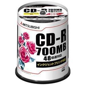三菱化学メディア CD-R 700MB 4~48倍速対応 100枚スピンドルケース入印刷可能ホワイトレーベル SR80PP100