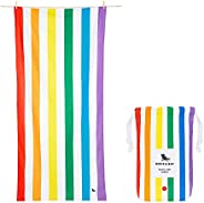 Rainbow Quick Drying Beach Towel - Rainbow Skies, Large (160x80cm, 63x31) - Quick Dry, Compact & Lightweig