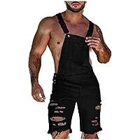 neveraway Men Fashion Denim Summer Hole Bib Overall Multi Pockets Trousers