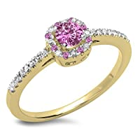 14Kゴールドラウンドピンクサファイア&ホワイトダイヤモンドヘイロースタイルブライダル婚約リング