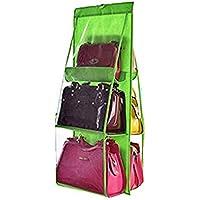 透明なバッグのストレージバッグ6層両面防塵マルチ機能バッグ収納袋7色 (色 : 緑)