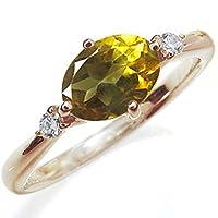 プレジュール 大粒 シトリン リング シンプル 一粒 指輪 ピンクゴールド K10 リングサイズ13号