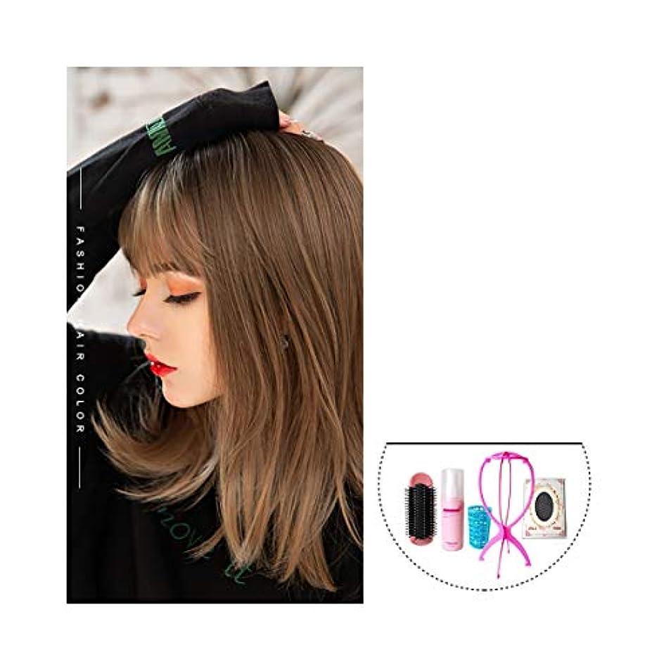 ゲージ一目情緒的HENGTONGWANDA ウィッグ、女性の半ばの長さの髪、自然とフルヘッドスタイル、エア前髪の長いストレートの髪、全体のトップヘアセット鎖骨髪 (Color : Chocolate)