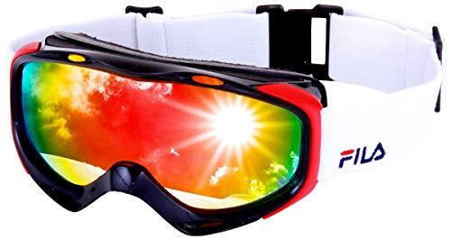FILA(フィラ) スノーボード ゴーグル 眼鏡対応 曇り止め ダブルレンズ UVカット99.9% Revo ミラーレンズ 全8色 メンズ レディース FG7101J BK/RD/S メガネ対応 スキーゴーグル スキー スノー用ゴーグル スノーゴーグル ス