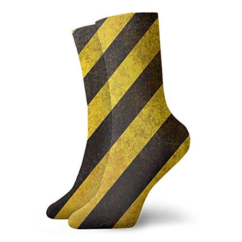 役立つに対処する満足できるクルーザーユニセックスカラフルドレスソックス、イエローブラックストライプ、冬ソフトコージー暖かい靴下かわいい面白いクルーコットンソックス1パック