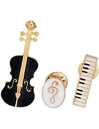 GuDeKe ヴァイオリン 音楽記号 ピアノキーボード 鍵盤 楽器3点セットブローチ ラペルピン