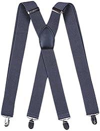 Zhhlinyuan 高品質 Mens X-Back Elastic Adjustable Shoulder Strap Braces / Suspenders 29.52-43.3inch