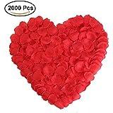 バラ の花びら フラワーシャワー 花びら 赤 結婚式 誕生日 クリスマス パーティ イベント お祝い 飾り (レッド) 2000枚セット 造花 アートフラワー アクセサリー 手作り DIY