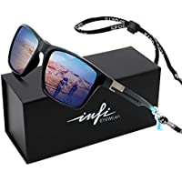 Mens Sunglasses Polarized for Fishing Driving Running Golf Sport Glasses, 100% UV Protection Cat.3 (shiny black/blue, blue)