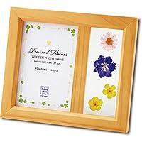 天然の押し花で空間を華やかに。 ユーパワー 押し花 木製 フォトフレーム ナチュラル・アレンジB OF-01804 〈簡易梱包