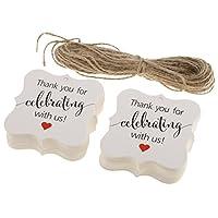 Prettyia 100枚入り 新年 結婚 新築 赤ちゃんの生まれ お祝いパーティー ギフトラベル 感謝カード クラフト紙 全2色 - ホワイト