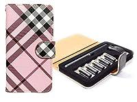 ploom TECH チェック ケース 生地 PU手帳 手帳型 ピンク×ブラックパープル【G】 プルームテック ケース カバー ploomtech-ki0012-g