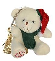"Lucore 4"" Santa Claus Teddy Bear Plush Stuffed Animal Keychain–クリスマス吊り下げトイ人形、ラッキーチャーム&オーナメント"