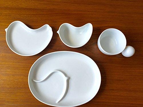 白山陶器 波佐見焼 PiPi ピピ ホワイト 化粧箱付き 4点セット 出産祝い お食い初め 子供向け食器