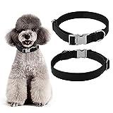 ペットの首輪、調節可能な人工皮革金属のバックルペットの犬の首輪のストラップペットアクセサリー(S)
