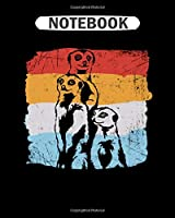 Notebook: meerkat animal retro africa gift  College Ruled - 50 sheets, 100 pages - 8 x 10 inches