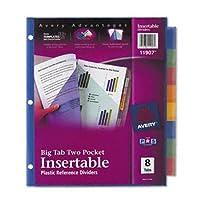Avery ® Worksaver ®ビッグタブマルチカラープラスチックディバイダーwith Doubleスラッシュポケットインデックス、PLST 2Pkt 8TB、AST mp005-gray (パックof15)