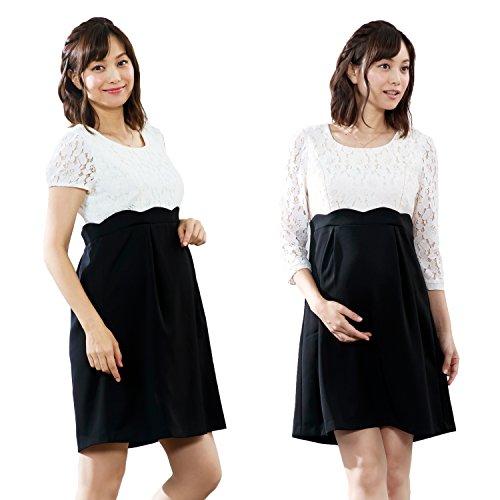 Sweet Mommy マタニティワンピース 授乳服 コードレース×スカラップ 【7分袖】M ホワイト×ブラック