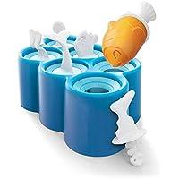 アイスロリーモールド、6アグリーフィッシュDIYフリーズアイスロリーアイスクリームモールド、食品グレードフレキシブルシリコンロリポップメーカー、BPAフリー