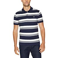 Lacoste Men's Slim Stretch Stripe Polo, Navy Blue/Flour