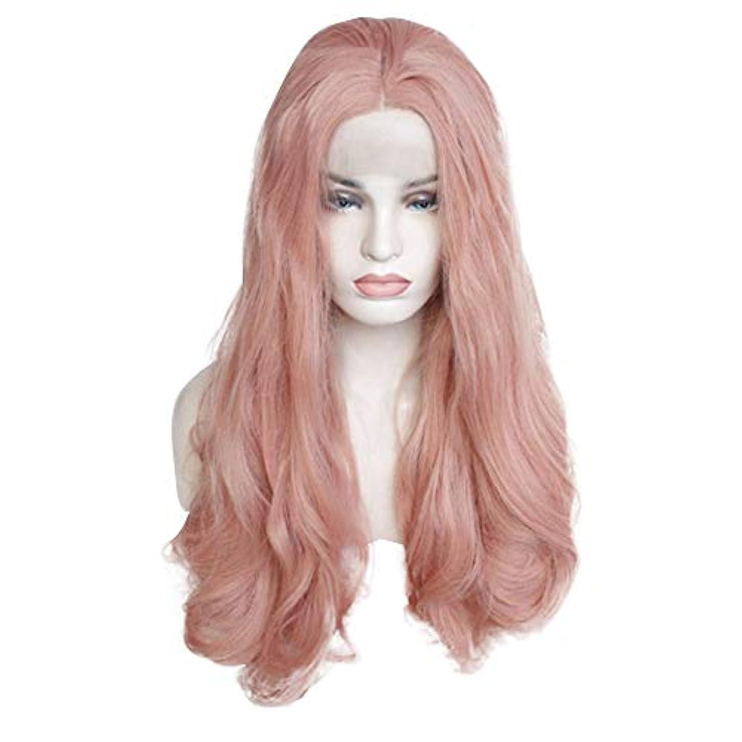 封筒本気なぞらえる女性のためのピンクのかつら、女性のためのファッションロングカーリーウィッグスモールウェーブウィッグとして自然な日常のコスプレ衣装のかつらかつら