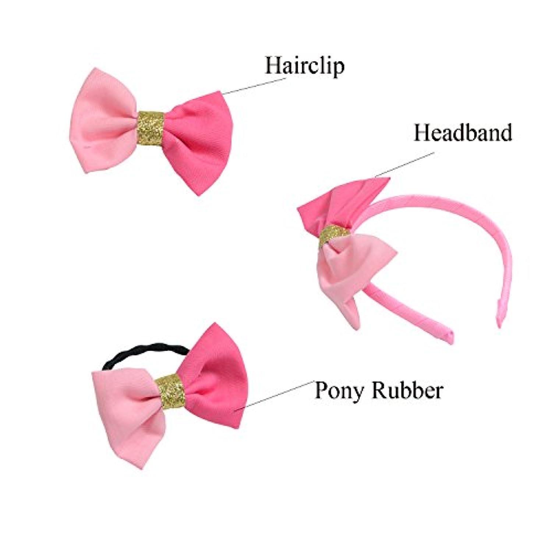 Set of 3ヘアアクセサリーfor Dolls :ヘッドバンドポニー、ゴム、ヘアクリップ – 人形ヘアアクセサリー