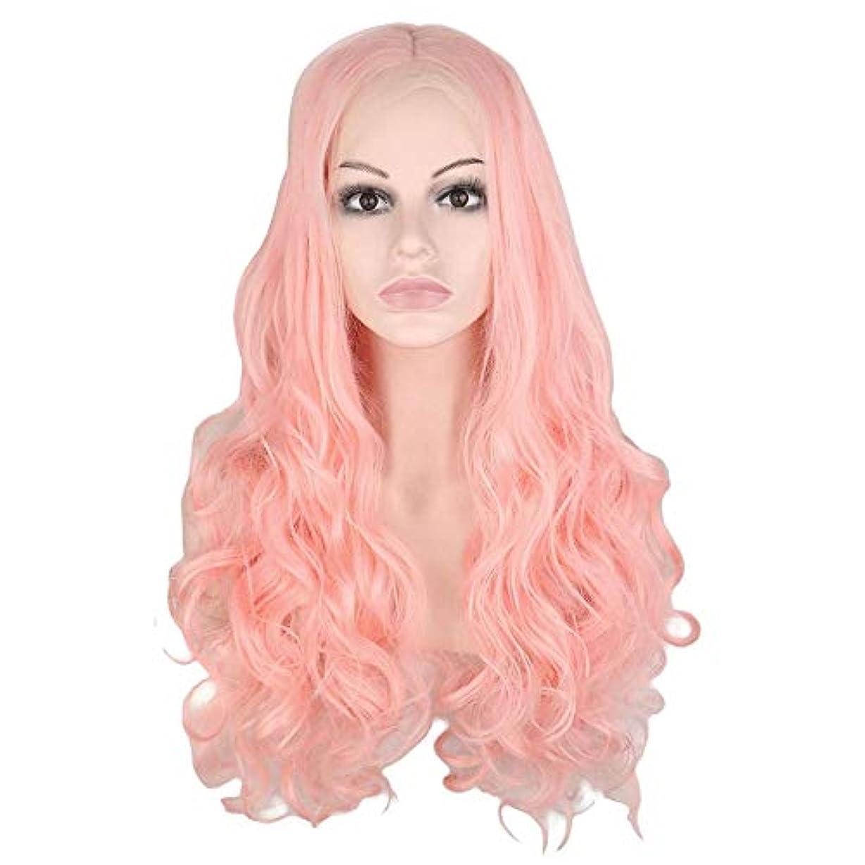 バング不調和賢明なウィッグ つけ毛 26インチレースフロントウィッグブロンドピンクロングカーリーウェーブヘアウィッグミドルパートコスプレ衣装デイリーパーティーウィッグ本物の髪を持つ女性 (色 : Blonde Pink, サイズ : 26