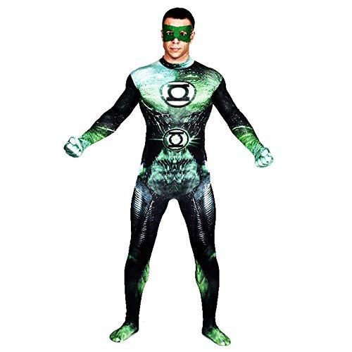 グリーンランタンコスプレ衣装DCヒーローロールプレイボディスーツスパンデックスジャンプスーツスーパーヒーロー仮装服,XXL