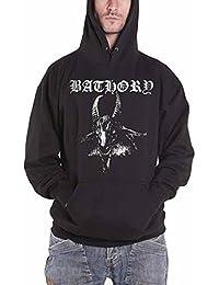 Bathory Goat logo 公式 メンズ 新しい ブラック Pullover パーカー