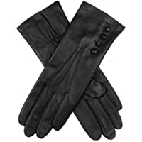 Dents Women's Touch Screen Classic Gloves With Elasticated Palm Button Detail 3-Point Stitch Detail & 100% Silk Lining