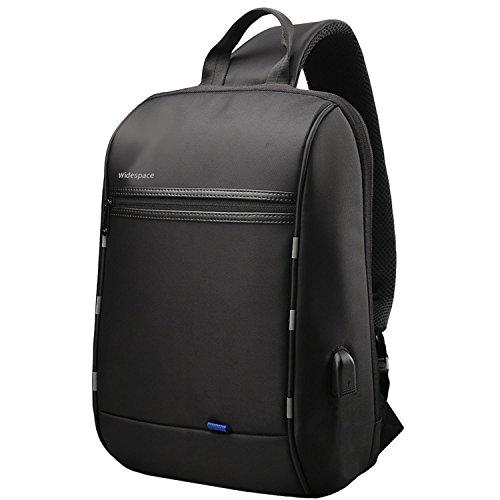 【Widespace】ボディバッグ メンズ 斜めがけ 左右肩がけ対応 防水 大容量 通勤 通学適用 USBポート付き 13.3インチpc タブレット収納 ビジネスリュック(ブラック)
