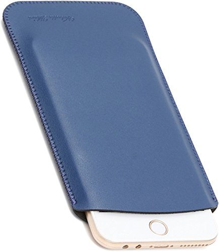 V.M 5.5 / 4.7インチ スリーブケース レザー スリップイン スマホケース 軽 薄 皮 革 4.7 スマホ スリーブ ケース iPhone 7 8 スリップインケース スリップケース スリップ インケース イン ポーチ 袋 携帯ケース マット ネイビー ブルー iPhone8 青 艶消