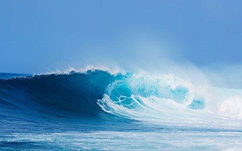 絵画風 壁紙ポスター (はがせるシール式) 波 オーシャンブルーの波 ブルーウェーブ 海 サーフィン キャラクロ SWAV-012W2 (ワイド版 603mm×376mm) 建築用壁紙+耐候性塗料