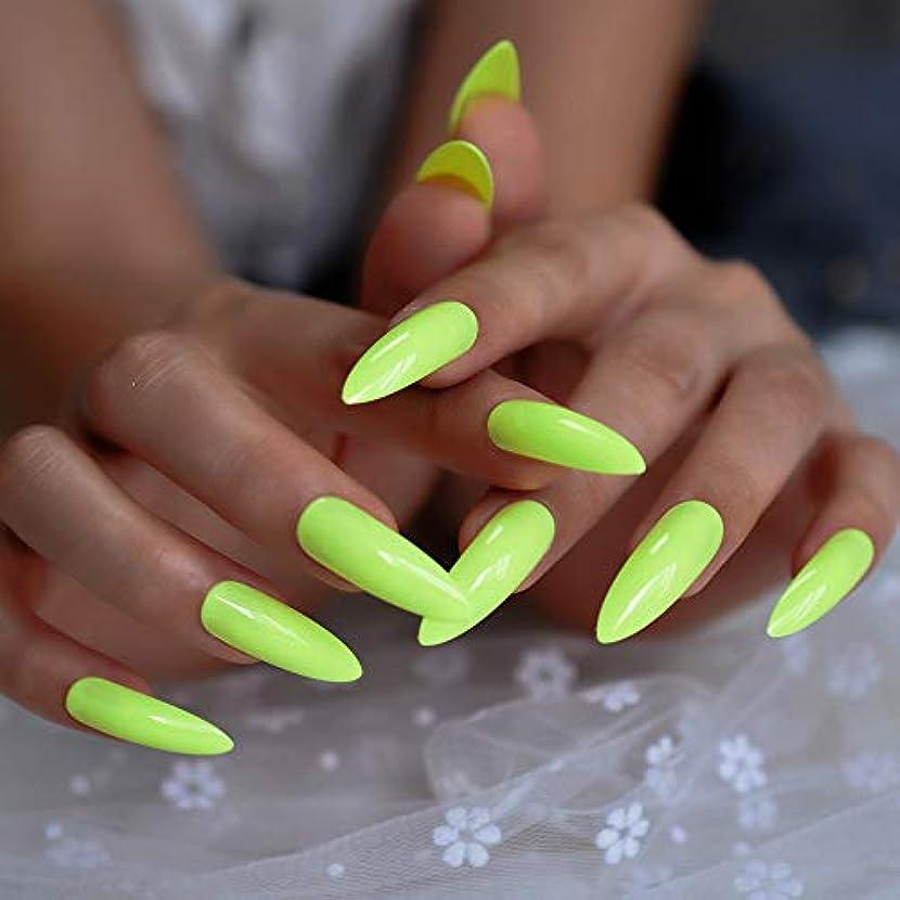 樹木果てしない春XUTXZKA ネオン蛍光グリーン偽ネイルプレス、指で非常に長い指先爪のない粘着テープ