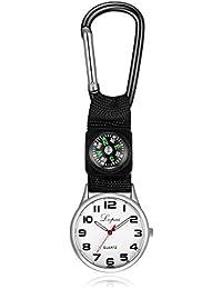 Intercorey懐中時計カラビナウォッチ懐中時計ベルトクリップチュニックウォッチブローチ付きコンパス