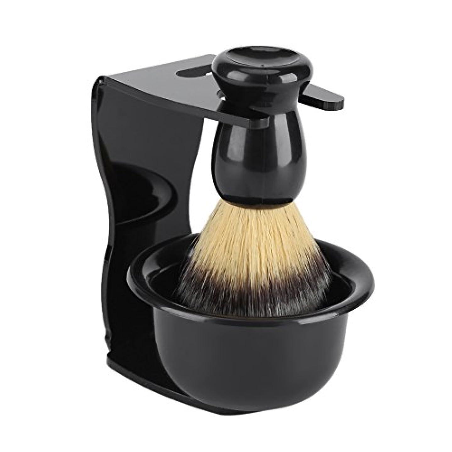 強大な洗剤シャックルシェービングブラシ 3点セット 純粋なバッガーヘアシェービングブラシ プロフェッショナルメンズ 洗顔 髭 剃り 泡立ち 洗顔ブラシ シェービングブラシ スタンド ホルダー ボウル