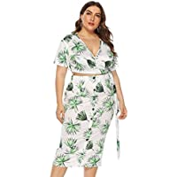 Bohao Large Size Women's Leaves Printed Straps Short Sleeve deep V Navel Hip Skirt Two-Piece Suit Women