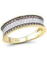 Santuzza 925 Sterling Silver White & Brown CZ Ring for Women Yellow Gold Plated