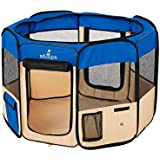"""Zampa Portable Foldable Pet playpen Exercise Pen Kennel + Carrying Case for Larges Dogs Small Puppies/Cats 