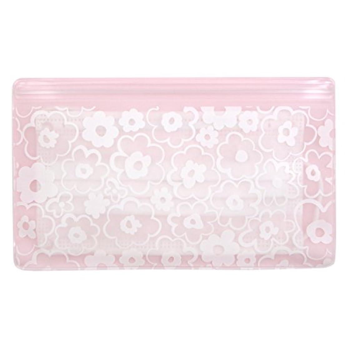 庭園長老リングバック抗菌マスクケース Wポケット 花柄ピンク いやあらっくす