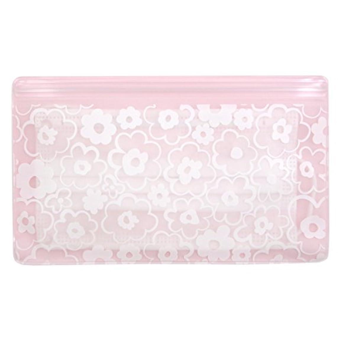 牽引サドル棚抗菌マスクケース Wポケット 花柄ピンク いやあらっくす