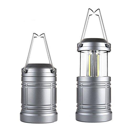Orader LEDランタン キャンプランタン 高輝度COB LED採用 折り畳み式 スライド式 マグネット 単三電池対応 エクスプローラー アウトドア適用 2本セット (グレー)
