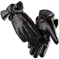 WUXiaodanDan Women's leather large bow gloves plus velvet warm gloves